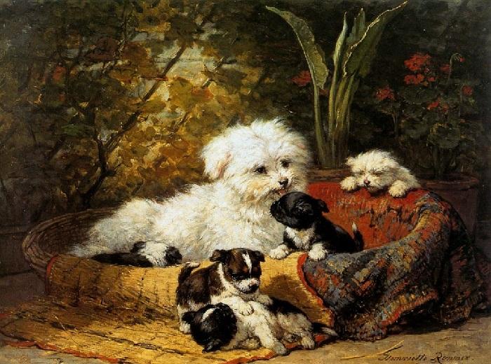 «Болонка со щенками. Автор: Генриетта Роннер-Книп.