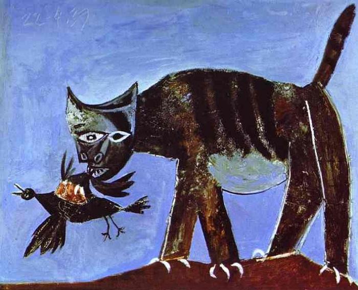 «Кошка, схватившая птицу». (1938). Холст, масло. Автор: Пабло Пикассо.