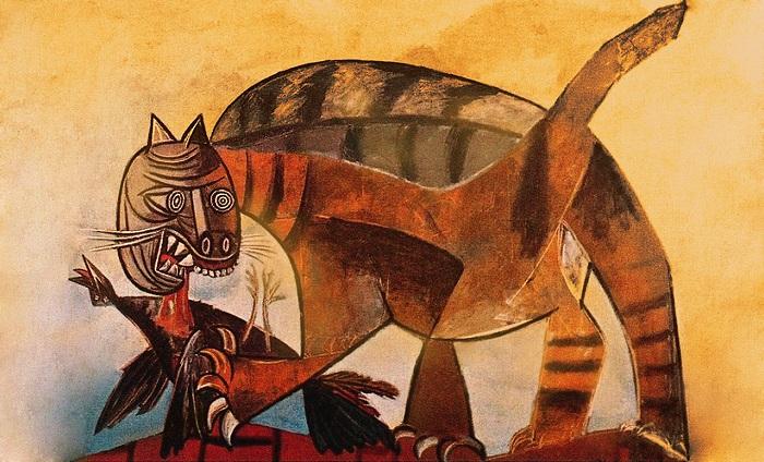 «Кошка, пожирающая птицу». Автор: Пабло Пикассо.