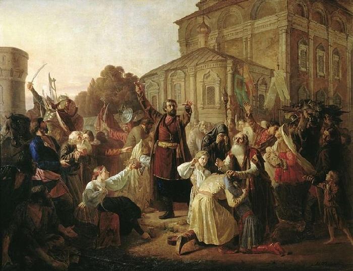 Воззвание Минина к нижегородцам.(1861).  Художник Песков М. И.