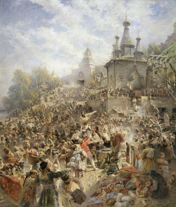 Воззвание Минина к нижегородцам в 1611 году. Автор: Константин Маковский