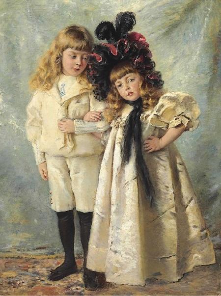 Портрет детей художника, Константина и Ольги. Автор: К.Е. Маковский.