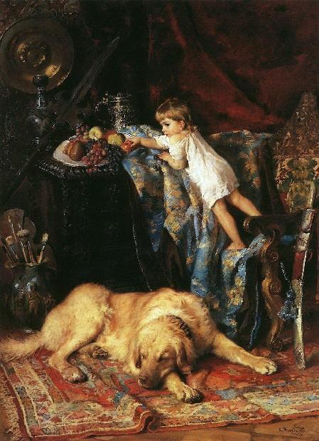 В мастерской художника. Маленький вор. (1881). Автор: К.Е. Маковский.
