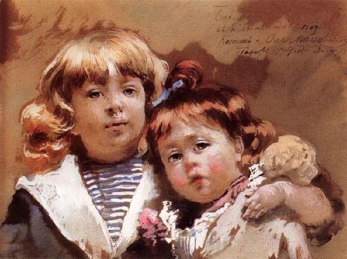 Портрет Константина и Оленьки. Автор: К.Е. Маковский.