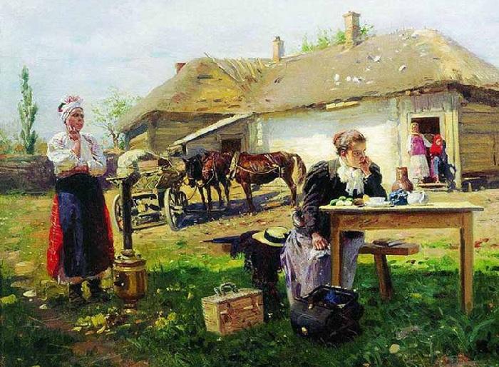 «Приезд учительницы в деревню». (1896-1897) Государственная Третьяковская галерея