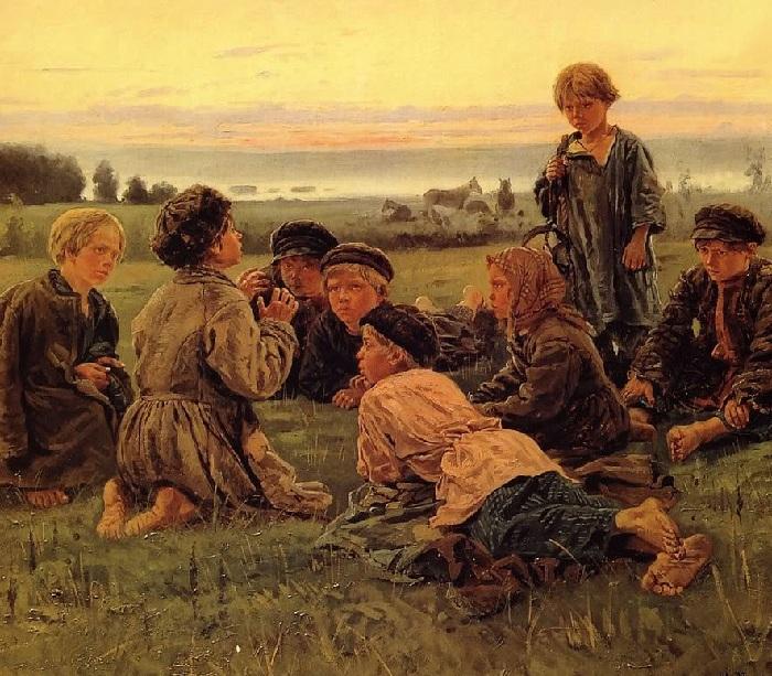 «Крестьянские мальчики в ночном стерегут лошадей». (1869).