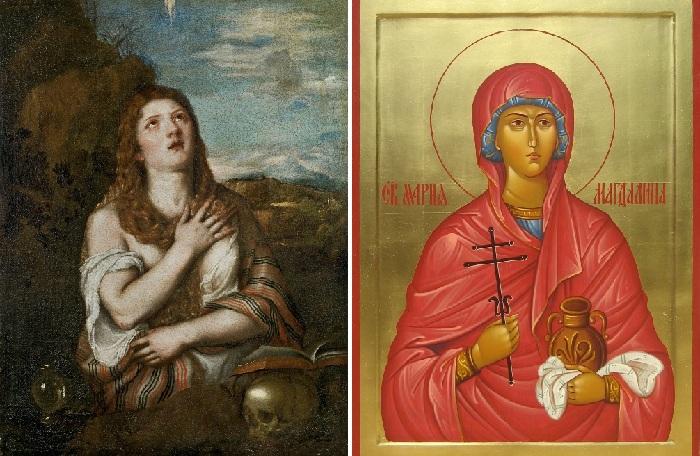 Кающаяся Мария Магдалина. Тициан Вечеллио. / Православная икона Марии Магдалины.