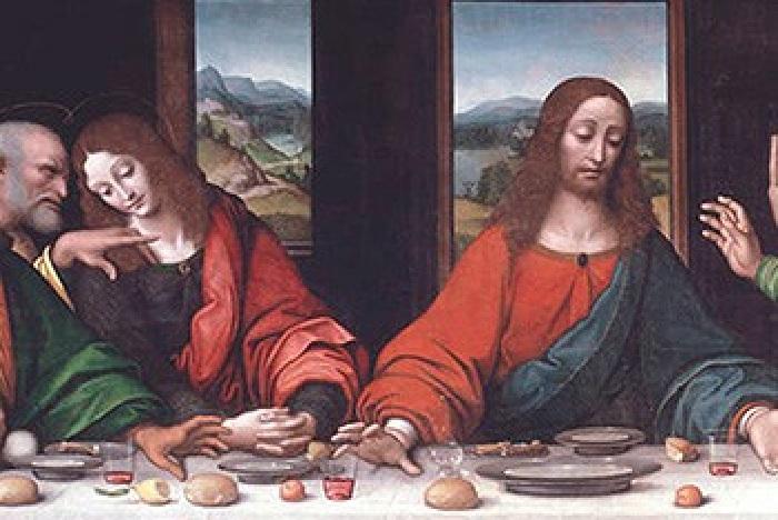 Тайная вечеря. (Фрагмент). / Мария Магдалина по правую руку от Христа/. Автор: Леонардо да Винчи.