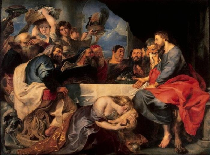 Мария Магдалина, омывающая ноги Христу.