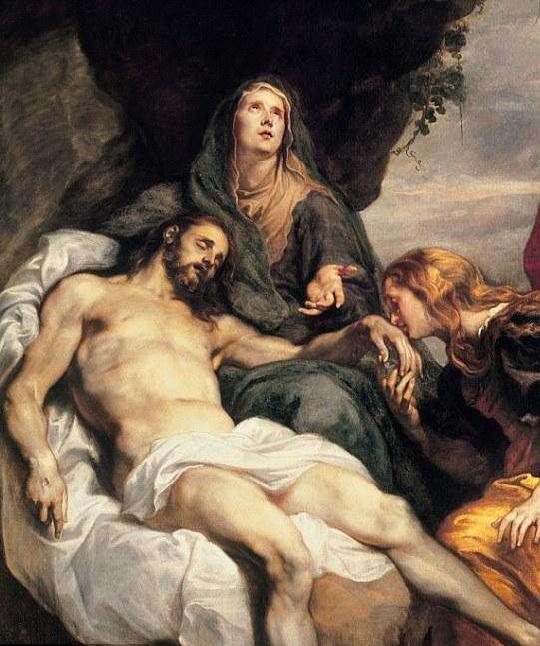 Богородица и Мария Магдалина, оплакивающие смерть Христа.