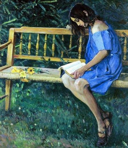 Наташа Нестерова на садовой скамейке.(1914). Автор: Михаил Нестеров.