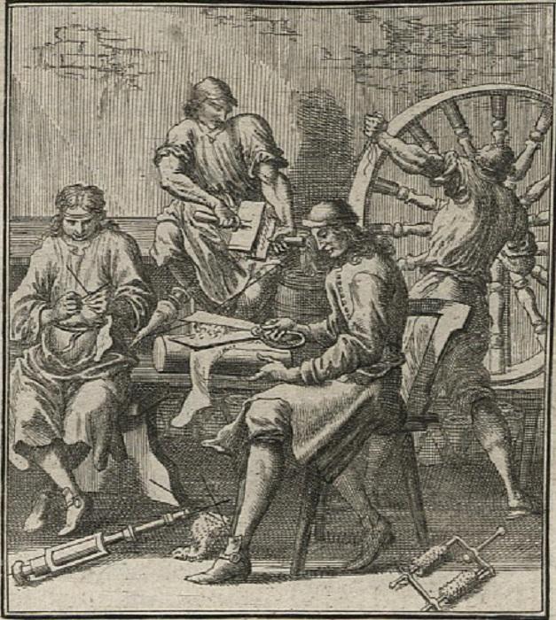 Вязальщики чулок. Автор: Кристоф Вайгель. Гравюра. (1698).