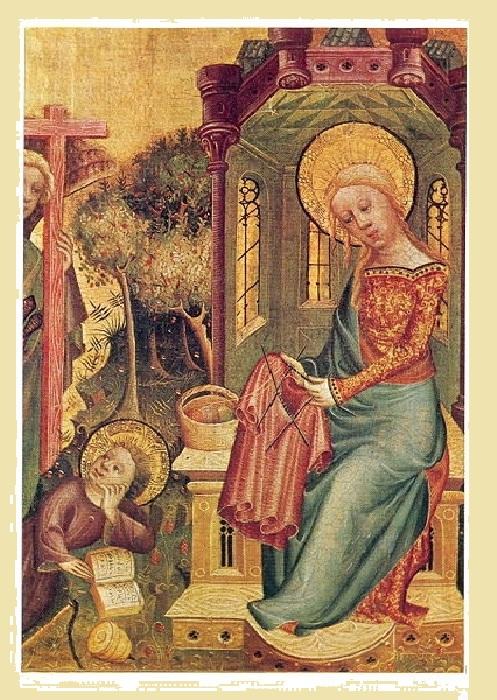 Иконография. Дева Мария за вязанием. Алтарь в Букстехуде. Германия. XV век.