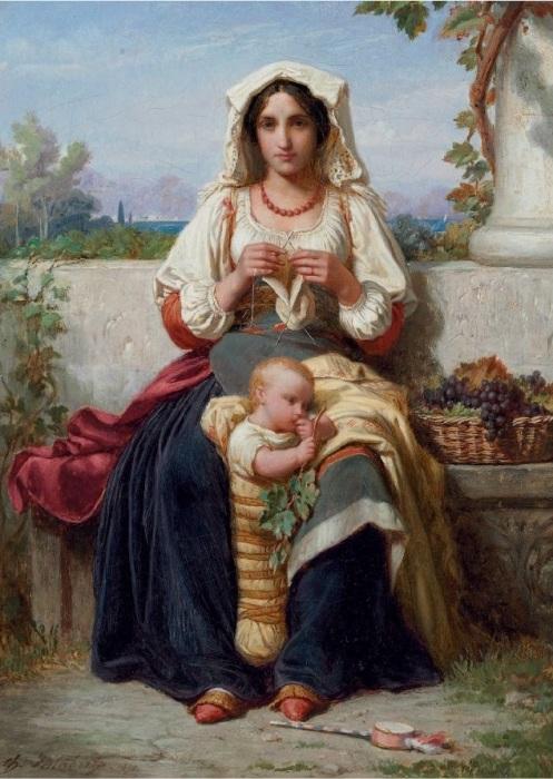 Итальянка с ребенком за вязанием.