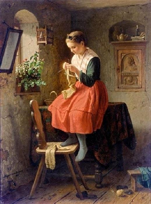 Девочка за вязанием. Автор: Johann Georg Meyer.