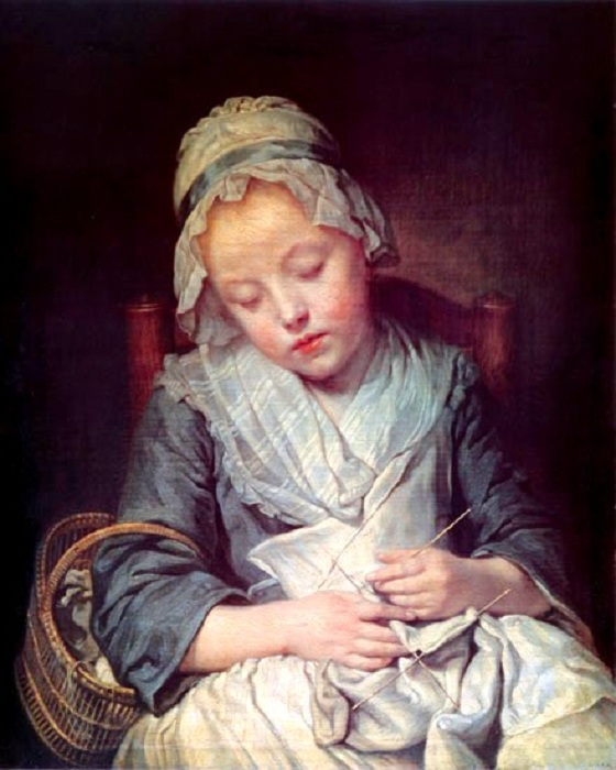 Юная вязальщица. Автор: Жан-Батист Грёз