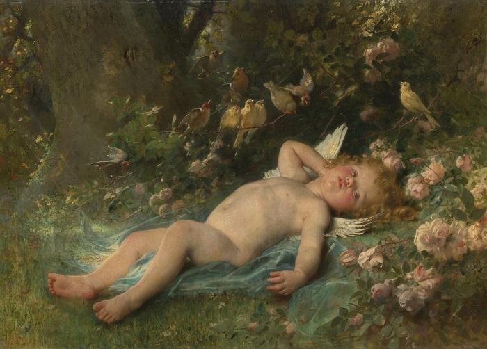 Пробуждение Амура (Le reveil de l'amour). (1888). Автор: Leon Bazile Perrault.