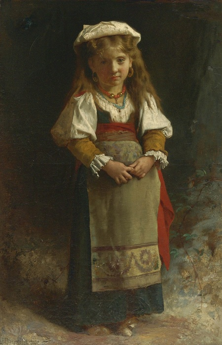 Портрет девочки (Portrait of a Young Girl). (1874). Автор: Leon Bazile Perrault.