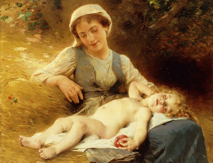 Мать со спящим ребенком (A Mother with her Sleeping Child). (1896). Автор: Leon Bazile Perrault.