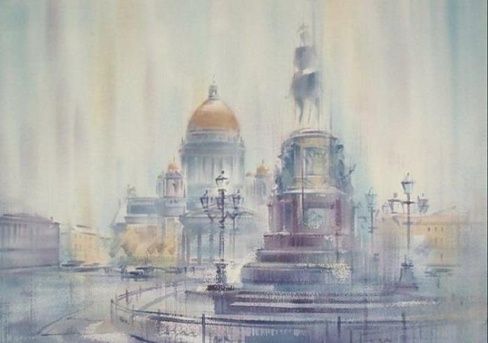 «Дождь на Исаакиевской площади». Акварели Константина Кузёмы.