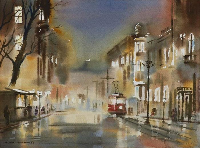 «Ночной трамвай». Акварели  Константина Кузёмы.