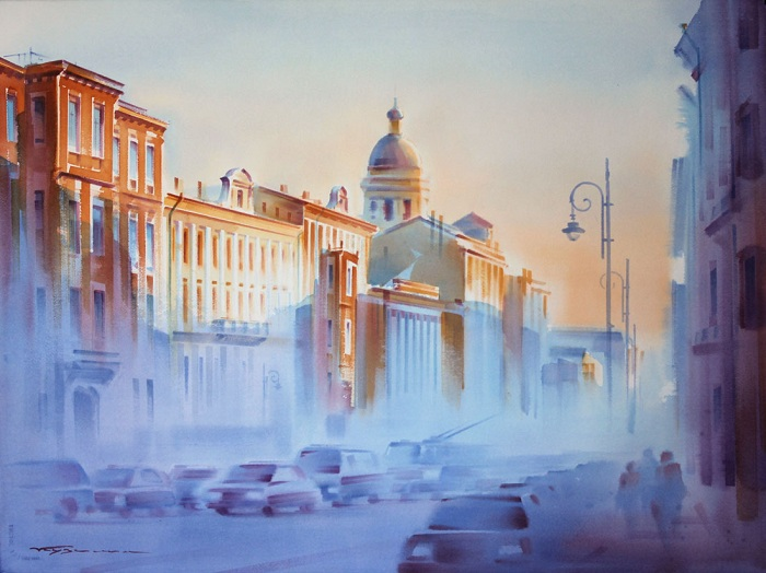 «Солнце в городе». Акварели Константина Кузёмы.
