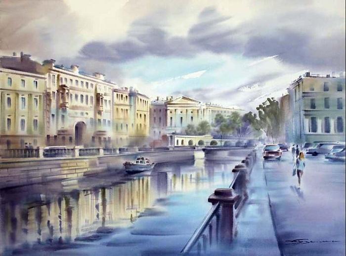 «Питер после дождя». Акварели Константина Кузёмы.