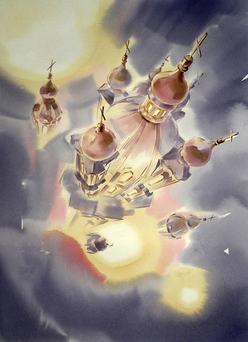«Смольный собор. Открытый космос». Акварели  Константина Кузёмы.