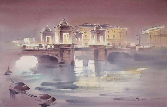 Калинкин мост. Акварели  Константина Кузёмы.