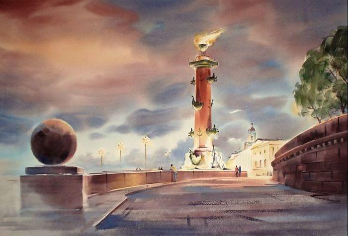Ростральная колонна. Акварели  Константина Кузёмы.