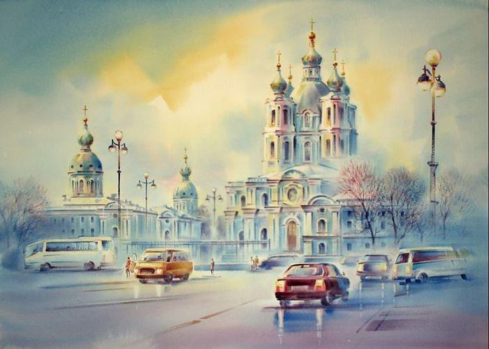 Органный вечер в Смольном соборе. Акварели  Константина Кузёмы. Акварели  Константина Кузёмы.