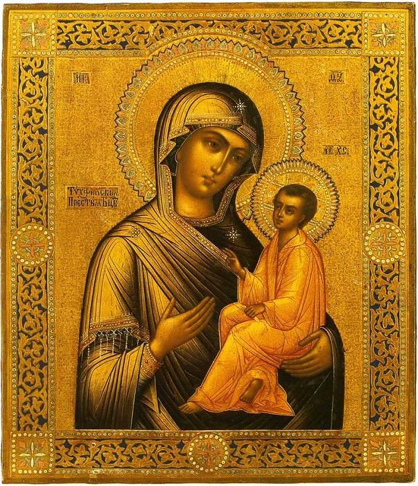 Палехская икона Божьей матери.
