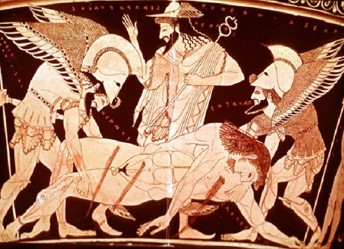 Бог смерти Танатас. Античная вазопись.