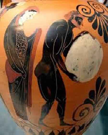 Персефона смотрит на Сизифов труд в подземном царстве Аида. Аттическая чернофигурная амфора, ок. 530 до Р. Х.