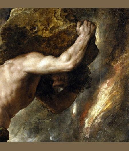 Тициано Вечеллио «Наказание Сизифа». Фрагмент.1547-1549