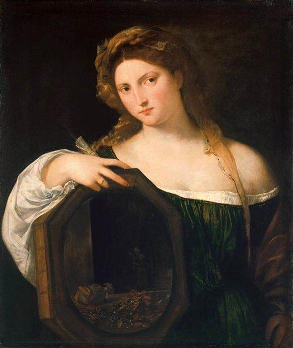 «Девушка с зеркалом». Автор: Тициан Вечеллио.