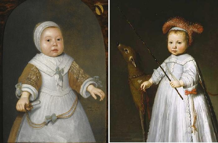 Портрет годовалой девочки из семьи ван дер Бурх. (1650-е гг.) Автор: Альбер Кёйп / Портрет Дирка Алевайна 1640-е гг. Автор: Дирук ван Сантвоорту.