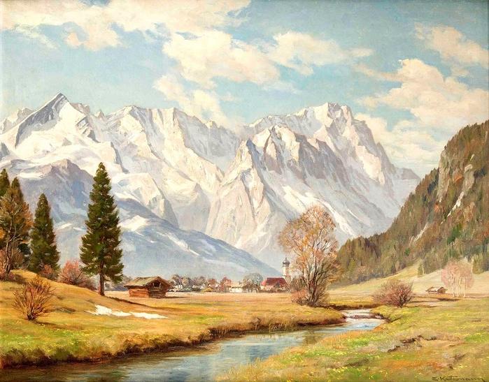 Альпийский пейзаж с видом на долину Фархант. Автор: Эрвин Кеттерманн.