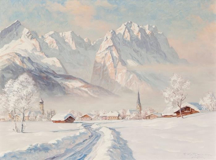 Зимнее утро в Гармише в Веттертайне. Автор: Эрвин Кеттерманн.