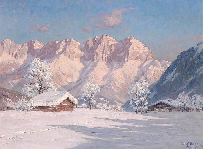 Зимнее утро в Китцбюэле в Тироле с горы Кайзер. Автор: Эрвин Кеттерманн.
