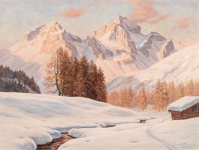 Зимний вечер рядом с Санкт-Морице (Швейцария) с Пиц-Жюльеном. Автор: Эрвин Кеттерманн.