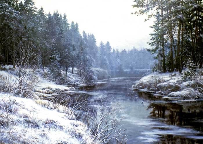 Зимняя река. Автор: Сергей Басов.