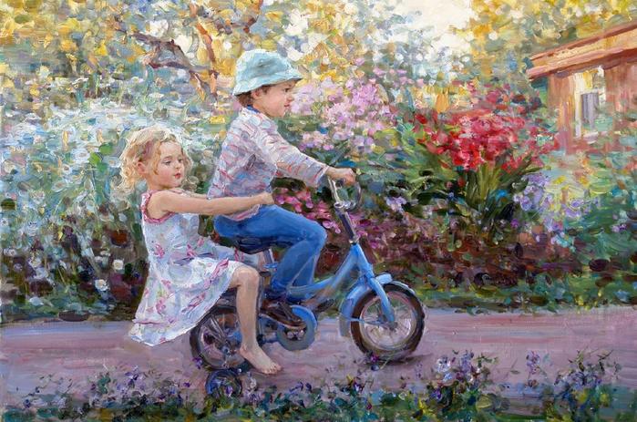 На велосипеде.