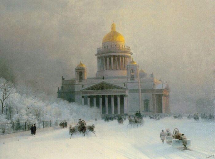 Исаакиевский собор в морозный день.(1891). Автор. И.К.Айвазовский.
