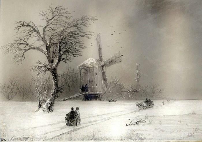Мельница.<br>(1874). Автор. И.К.Айвазовский.
