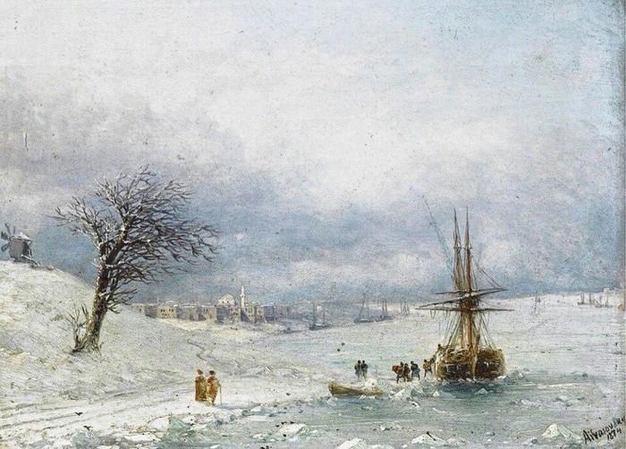 Зимний пейзаж. (1874). Автор. И.К.Айвазовский.
