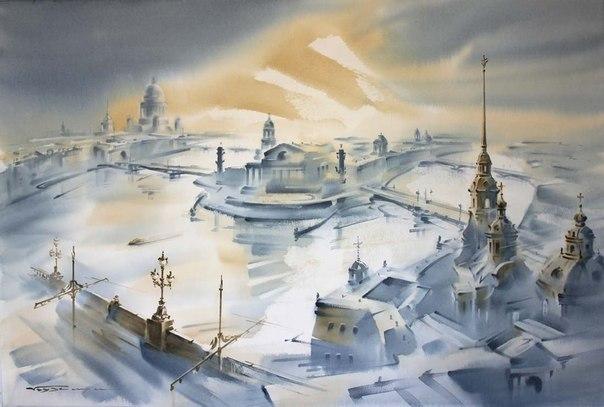 «Семь холмов Петербурга». Акварели Константина Кузёмы.