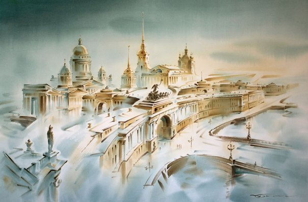 «Есть город золотой». Акварели Константина Кузёмы.