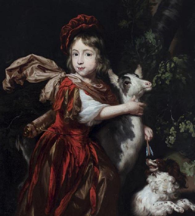 Портрет мальчика в костюме охотника с козой и собакой. (1670-е годы). Автор: Николас Мас.