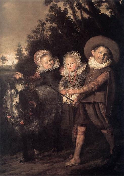 Трое детей с козлом, запряженным в повозку. (1620 год). Автор: Франс Хальс.